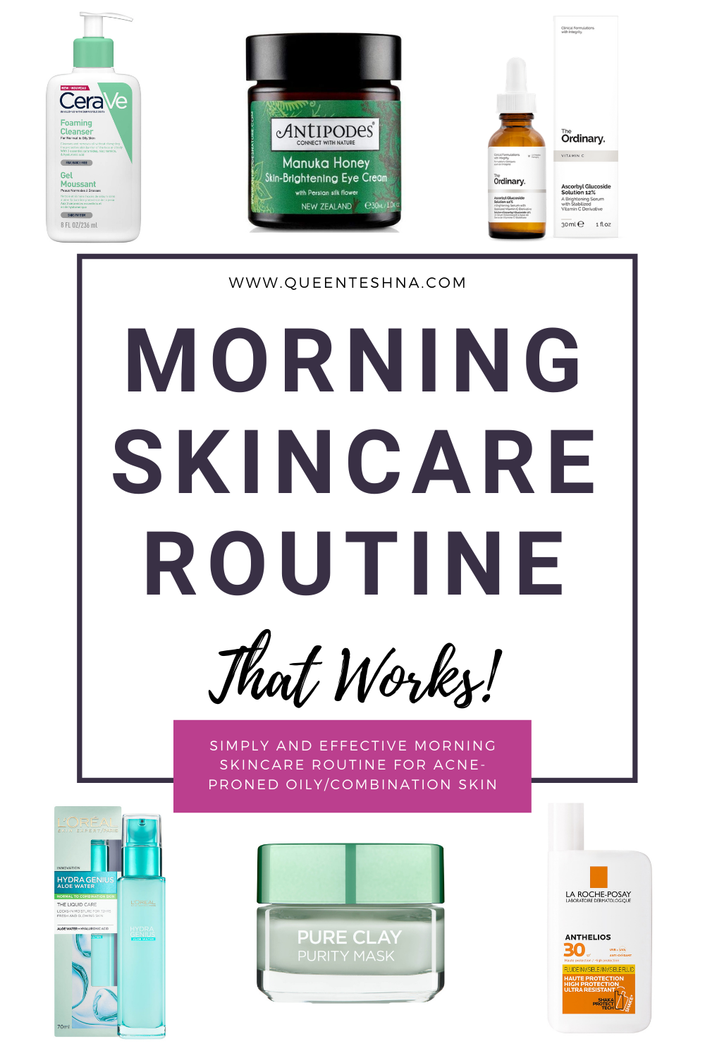 Products I use on my skin in the morning